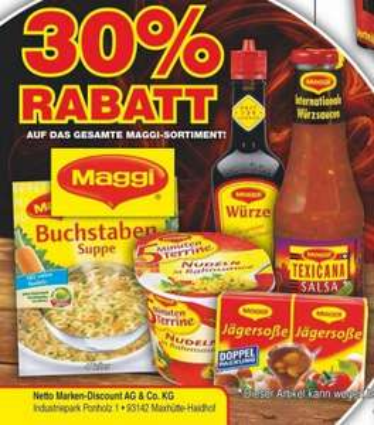 30% auf das gesamte Maggi-Sortiment @ Netto Marken-Discount
