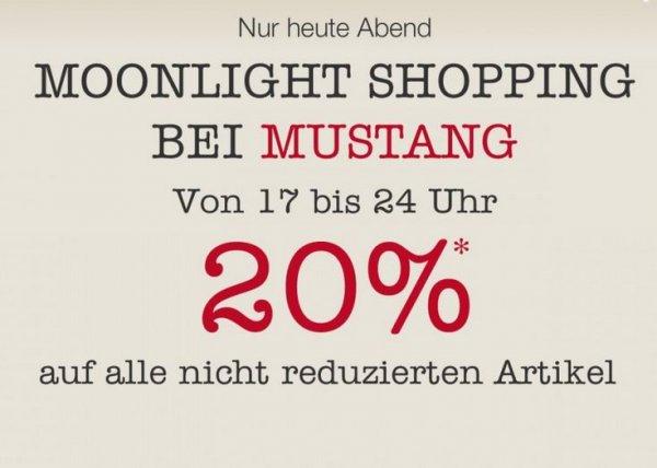 Bei Mustang: Moonlight Shopping mit -20% auf nicht reduzierte Ware nur bis 0 Uhr