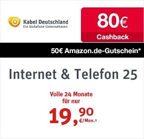 [Qipu] Kabel Deutschland 25 Mbit, 80€ Cashback, 50€ Amazon, keine Bereitstellungskosten, 14,48€ /Monat
