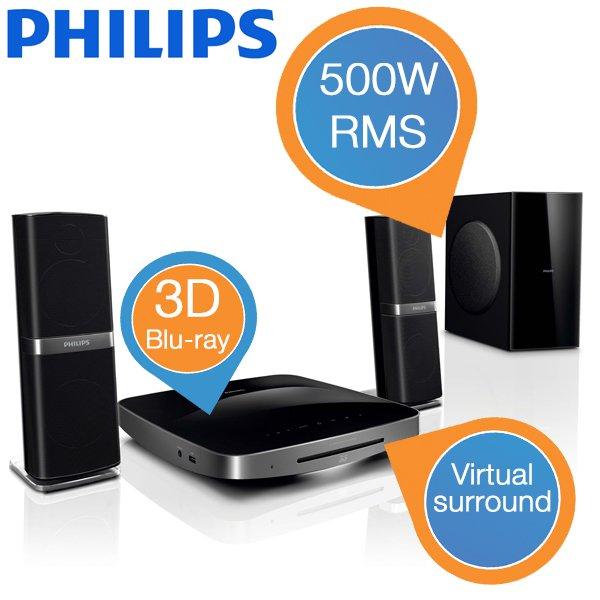 Philips HTB7250D/12 2.1 Heimkinosystem (3D, 500 Watt, HDMI, ARC, NetTV, WiFi) schwarz @ibood.com