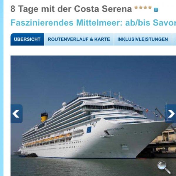 Costa serena 8 Tage von savona nach savona - 366,- inkl Trinkgeld