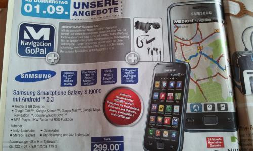 Samsung Galaxy S I9000 mit KFZ Halterung+Ladekabel und Navi App bei Aldi-NORD