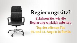 Tag der offenen Tür der Regierung 30-31.08 in Berlin - u.a.Kostenloser Shuttle, Dr. Eckart von Hirschhausen, OpenAir Kino, Band Keimzeit uvm.