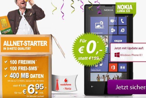 Getmobile Klarmobil-Aktion: Lumia 520 + 100 Frei-Min + 100 Frei-SMS + 400 MB (Vodafone-Netz)