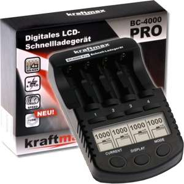 [eneloop-shop.de] Kraftmax BC-4000 Pro Akku Ladegerät mit LCD-Display & Mikroprozessor für Eneloop