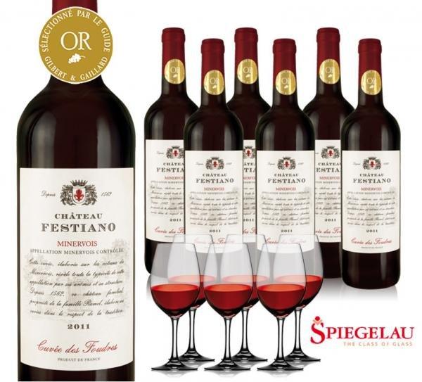 6x Wein Château Festiano inkl. 6x Spiegelau Gläser für 39,90