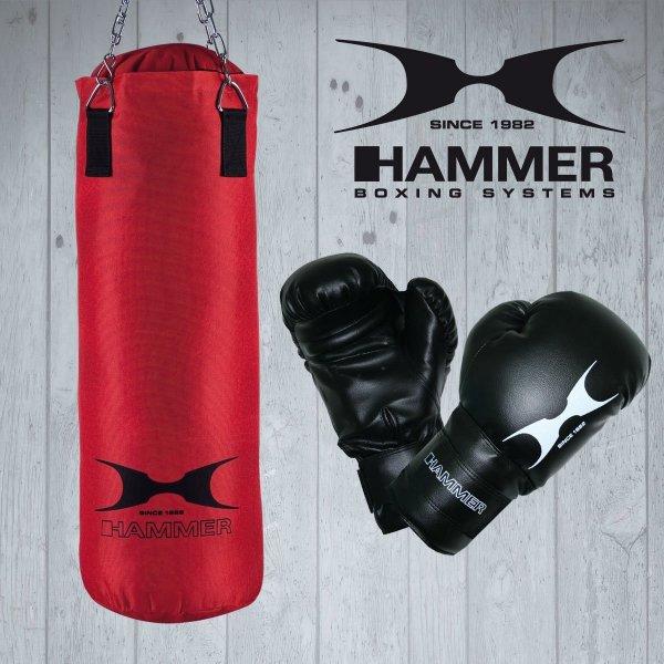 Hammer Boxset Fight - Handschuhe und Box-Sack in rot/schwarz ( 80 cm ) für 54,99€ @Amazon Blitz