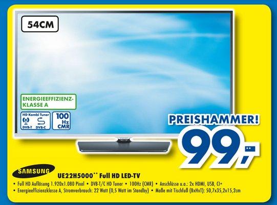 "[Euronics XXL Ulm] Samsung UE22H5000 22"" / 56 cm Full-HD-TV mit Kabel/DVB-T Tuner 99€"