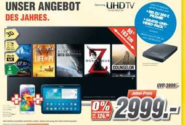 "[Regional] Samsung UHD TV HU7590 65"" + Galaxy S5 + Galaxy Tab 5 +150€ Prämie"