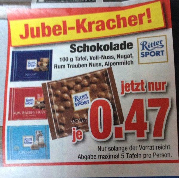 [Offline, Lokal] Möbel Hardeck, Ritter Sport Schokolade für 0,47 € / Tafel