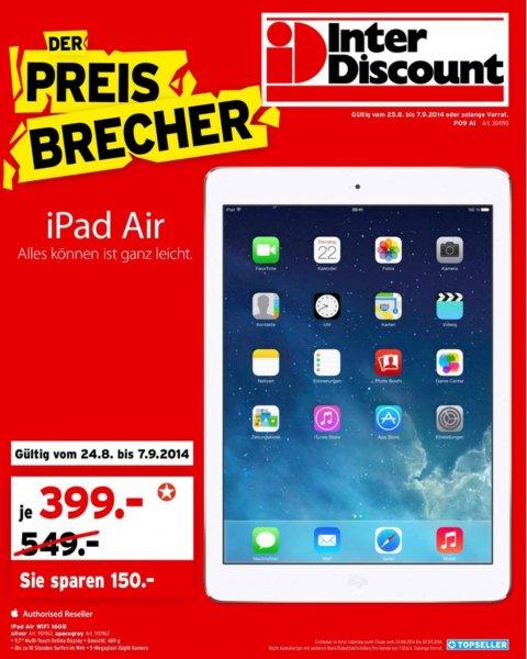 [Schweiz] iPad Air 16GB WiFi in Silber und Spacegrau für 399CHF (329€) bei interdiscount (Filialen und online Shop)
