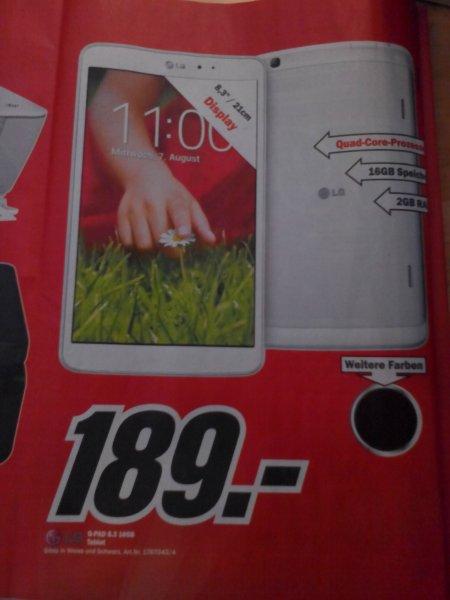 LG G Pad 8.3 für 189 € @ MM Bruchsal !!!