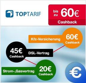 (Qipu) Cashback auf KFZ-Versicherung, DSL Vertragsabschluss und Strom- oder Gasvertragsabschluss