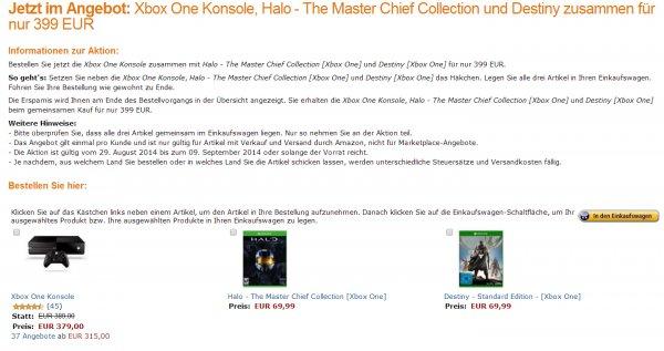 Xbox One (ohne Kinect) + Destiny + Halo: The Master Chief Collection bei Amazon.de für 399€