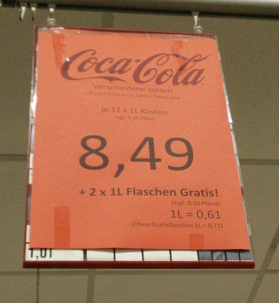 [Offline] Rewe + REAL (bundesweit) - Coca Cola 12x1L + 2L Gratis für 8,49€