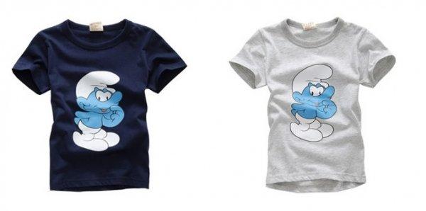 Kinder T-Shirt 'Die Schlümpfe' Unisex in blau oder weiß für 2,69€. Kostenlose Lieferung