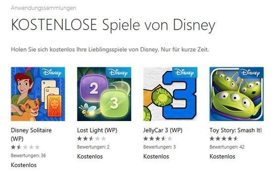 6 Gratis Disney Spiele für Windows Phone/Windows 8/RT