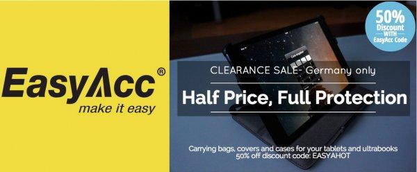 50% Rabatt auf die ganze Reihe an EasyAcc Zubehörteilen für PC Tablet Leder Case!!