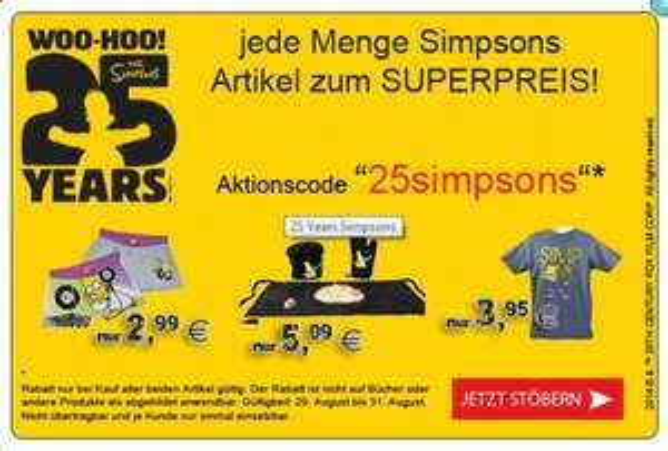 40% Rabatt auf viele Simpsons Artikel.