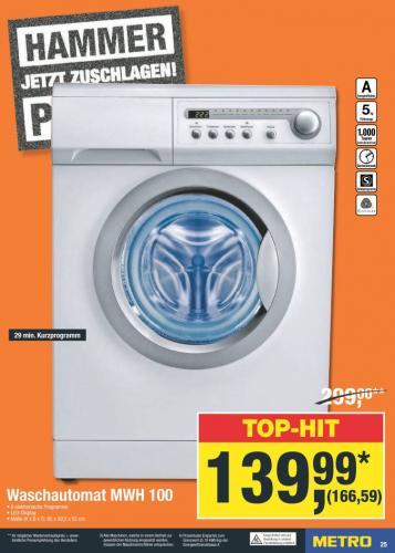 Metro/offline: NoName Waschmaschine für 166,59€