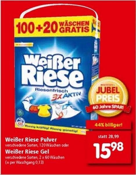 [ÖSTERREICH] SPAR Weißer Riese Waschmittel 120 WL 15,98 //  0,13€ p.W.