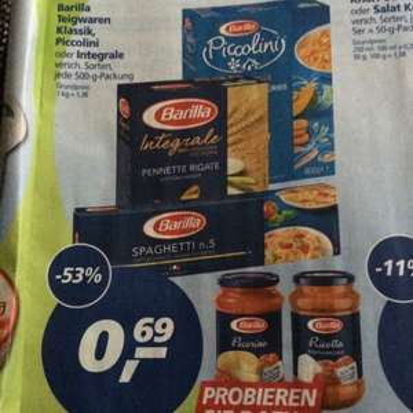 [real] Barilla Teigwaren klassik oder Integrale; 0.69€