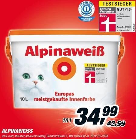 [toom Baumarkt lokal] Alpina Alpinaweiss 10 L