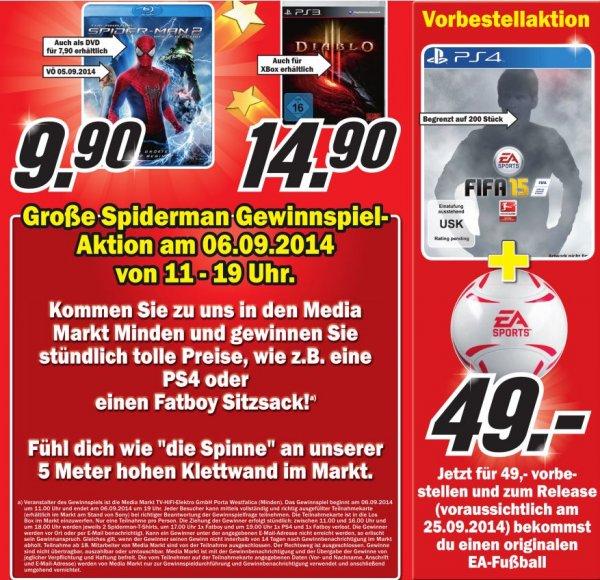 The Amazing Spider-Man 2: Rise of Electro [Blu-ray] - 9,90€ - FIFA 15 mit originalen EA Ball für PS4 49€