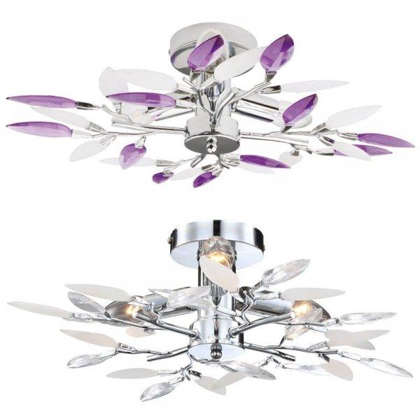 Ebay WoW : Design Wohnzimmer Decken Lampe Esszimmer Küchen Flur Chrom Leuchte Blätter Äste