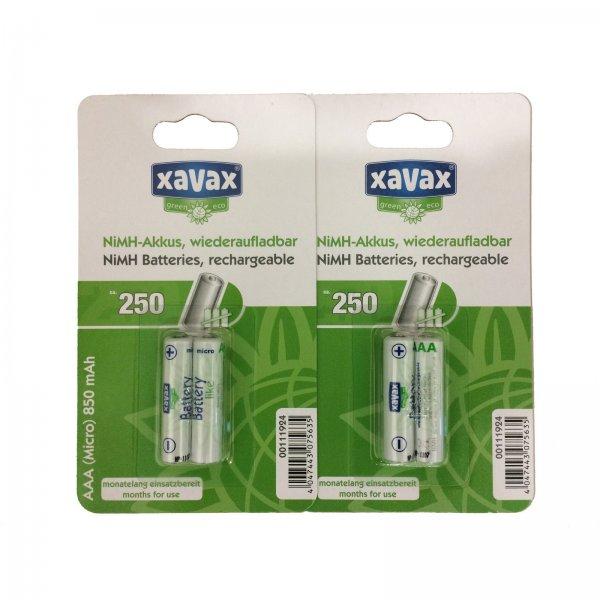 4er Pack XAVAX  AAA Micro - AKKU NiMH 850mAh @Ebay für 3,99€ inkl VSK