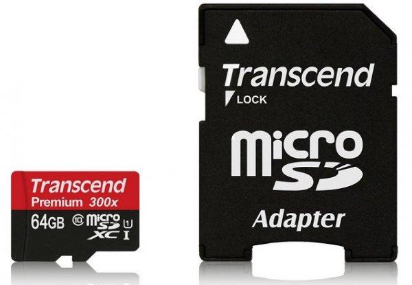 Transcend microSDXC Karte 64GB UHS-1 Class 10 @Amazon