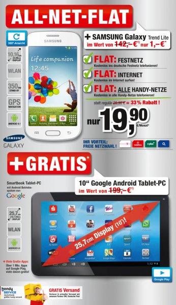 All-Net-Flat mit Gratis Galaxy Trend + Gratis 10'' Tablet für 19,90€ - Freie Netzwahl