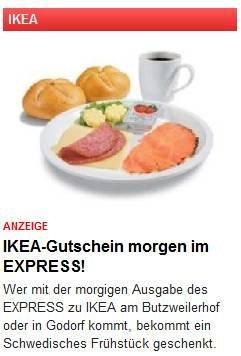 [Lokal: Köln] IKEA-Frühstück via Express (Tageszeitung) am 02.09.2014 für umsonst