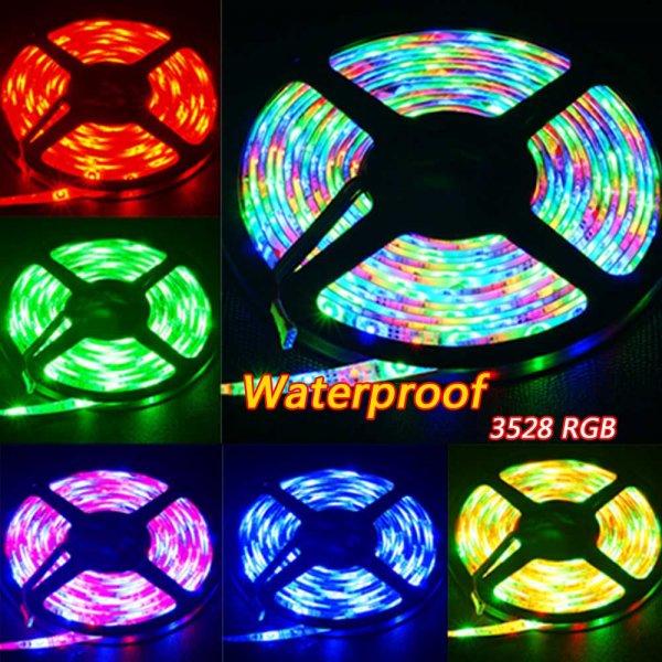 5M 300LED Streifen SMD 3528 RGB LED Light Strips + 24Key LED Controller + DC 12V 2A Power