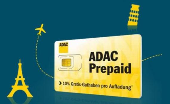 ADAC prepaid Sim fürs Ausland mit 10 Euro Startguthaben und 15 Euro Auflade Bonus