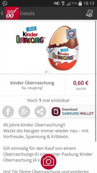Kinder Überraschungsei kostenlos durch 0,60€ Cashback @Scondoo