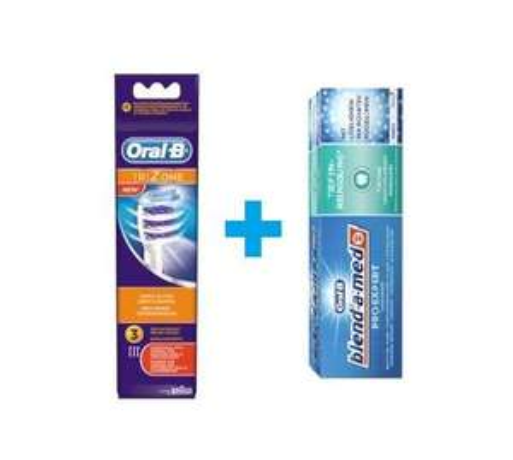 [MÜLLER] Oral-B Aufsteckbürsten Cross Action/TriZone 3er Packung + Gratis Blend-a-Med Pro Expert 75ml (3 Coupons kombiniert)