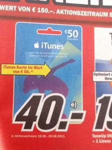 MM iTunes 50€ Geschenkkarte 20% billiger