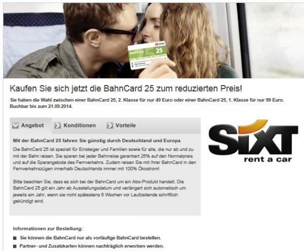 BahnCard 25 (2. Klasse / 1. Klasse) zum reduzierten Preis - Ersparnis: > 20 %