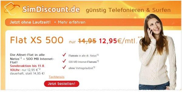 simdiscount flat xs500 allnet flat ab 12,95 O2 - 19,95 D2 günstige EU option!