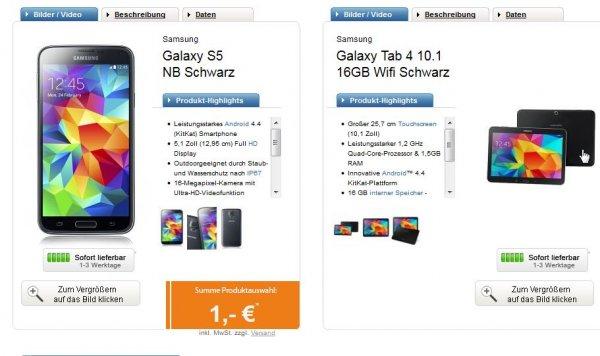 Telekom Complete Comfort S (normal & Friends) für 29,95€/Monat – Samsung Galaxy S5 + Galaxy Tab 4 10.1 + 15.000 Meilen