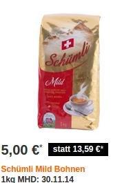 Kaffeebohnen: 1KG Schümli bei Migros-Shop für 5€ inkl. Versand