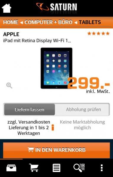 Apple ipad 4 mit Retina Display für 299€ @ Saturn