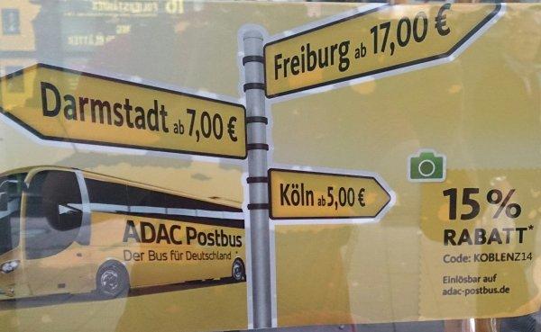 [Koblenz] 15 % auf den ADAC Postbus. Evtl. auch andere Strecken