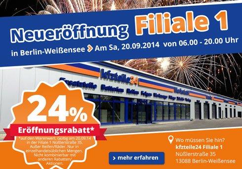lokal Berlin Weißensee, 24 % Rabatt bei kfzteile24 in der Filiale 1