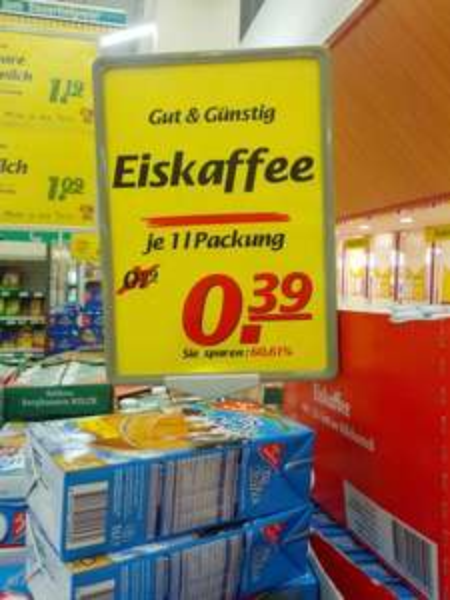 [Lokal?] [Augsburg / Marktkauf] Eiskaffee von Gut & Günstig - 1 Liter - 0,39€ statt 0,99€ -