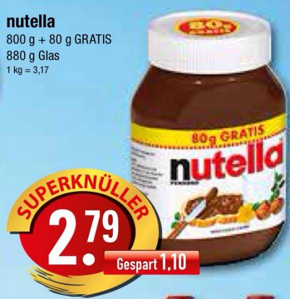 NUTELLA 800+80g für 2,79€! (Sachsen / Bundesweit?!)
