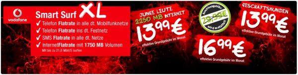 Vodafone Smart XL ab 13,99 Euro im Monat