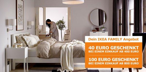 IKEA: 20/40/60/100 € Gutschein ab 200/400/500/800 €-Einkauf (online und offline) für Family-Mitglieder
