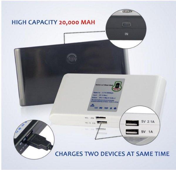 Everyday Basics 20000 mAH Mega Power Bank-Dual-Ladegerät